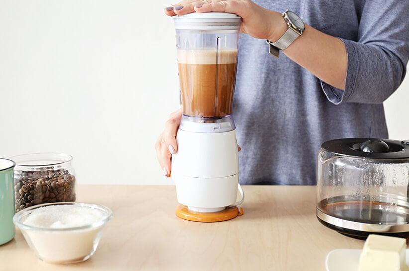 making keto coffee with a blender